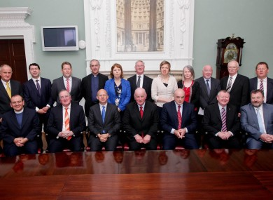 Members of the Orange Grand Order with Senators in the Oireachtas today. Drew Nelson is second from right in the bottom row.