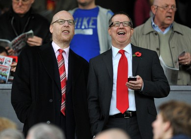 Manchester United directors Bryan Glazer (right) and Avram Glazer. Manchester United has applied to be listed on the New York Stock Exchange in a move it hopes will raise 100 million dollars (£64m).