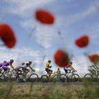 Fabian Cancellara of Switzerland wears the overall leader's yellow jersey during the fifth stage of the Tour de France. (AP Photo/Laurent Cipriani)