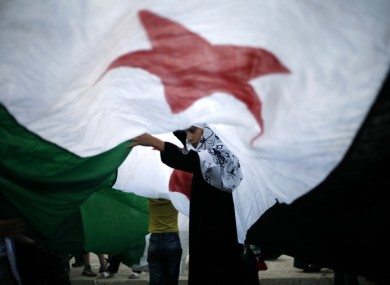 A Syrian girl lifts the center of a giant revolutionary flag during a protest against Bashar Assad, in front the Syrian embassy in Amman, Jordan.
