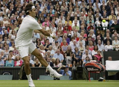Roger Federer in full flight this afternoon.