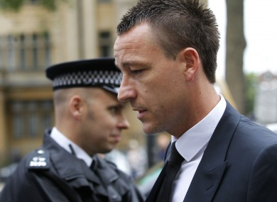 John Terry arrives at Westminster Magistrates Courts in London today.