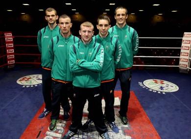Adam Nolan, John Joe Nevin, Paddy Barnes, Michael Conlon and Darren O'Neill at the launch of the of the Irish Boxing team for London 2012.