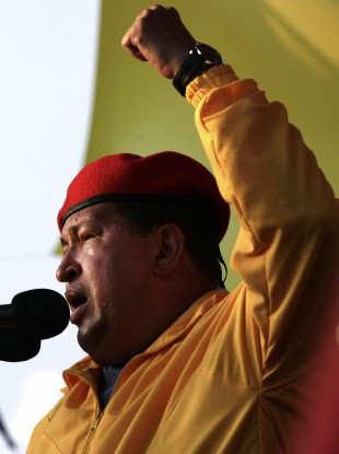 Venezuela's President Hugo Chavez speaks at a campaign rally