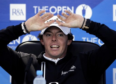 Rory McIlroy faces the press yesterday.