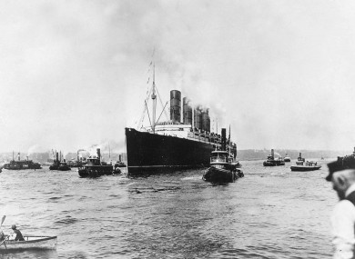 The Lusitania sailing from New York on 1st May 1915 on her last voyage