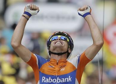 Luis Leon Sanchez celebrates his win after an excellent ride during Stage 14.