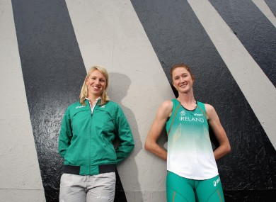Catriona Cuddihy, left, pictured with her sister Joanne at the announcement of Ireland's Olympic squad earlier this week.
