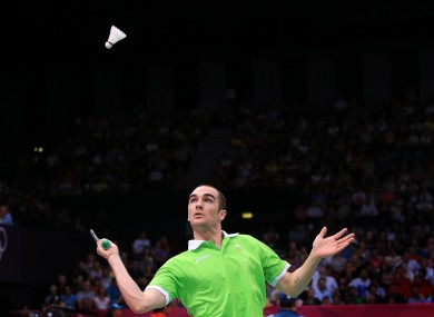 Ireland's Scott Evans plays against China's Lin Dan today.