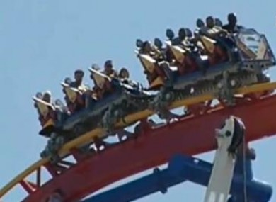 The train stuck atop the Superman ride yesterday.