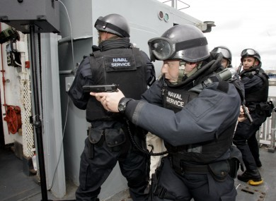 Irish naval personnel take part in an operational display