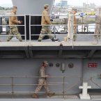 Crew on board the USS Fort McHenry in Dublin today. (Photo: Laura Hutton/Photocall Ireland)
