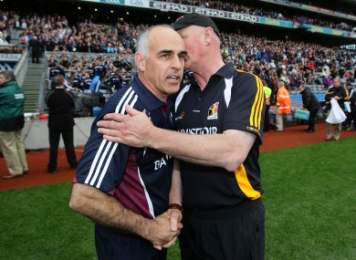 Anthony Cunningham and Brian Cody after the Leinster hurling final.