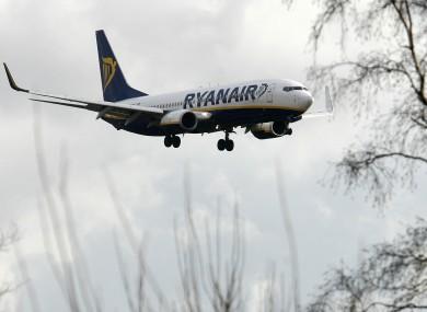 A Ryanair plane landing at Liverpool John Lennon Airport