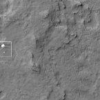 NASA's Mars Reconnaissance Orbiter photographs the Curiosity rover and parachute during its descent. (NASA/JPL-Caltech/Univ. of Arizona)