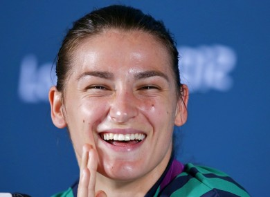 Ireland's Olympic Gold medalist Katie Taylor during the post fight press conference.
