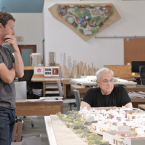 Facebook's Mark Zuckerberg and renowned architect Frank Gehry inspect a model of the building's interior. (Image: Everett Katigbak, Facebook)