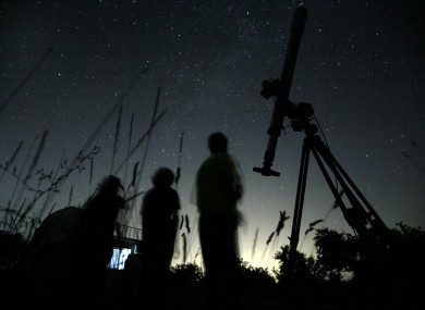 File photo of astronomers in Bulgaria watching a Perseid meteor shower