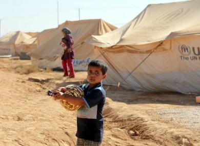 A boy at the Za'atari refugee camp in Jordan recently