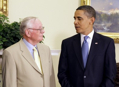 Barack Obama meets Neil Armstrong in the Oval Office in 2009, at an event marking the 40th anniversary of the Apollo 11 mission.