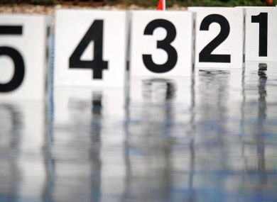 A general view of the lane markers at the Shunyi Olympic Rowing and Canoeing Park, at the 2008 Olympic Games in Beijing.