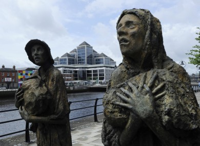 The memorial to the Great Famine in Dublin's IFSC. The latest ESRI bulletin says Ireland's economy is 'bouncing along the bottom'.