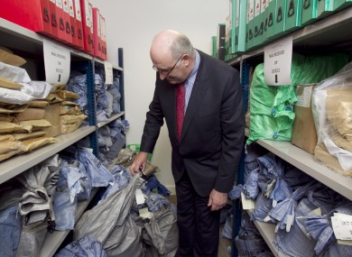 Phil Hogan in the mailing room of the Household Charge Bureau in Dublin inMarch