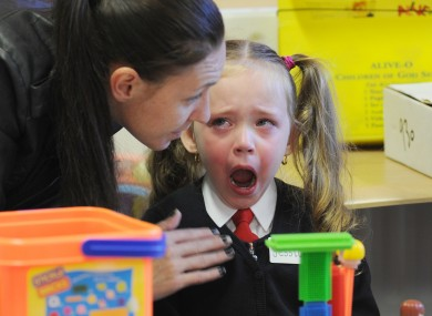 Jessica Boyle gets a little upset as she has to leave her mother on her first day at Gardiner Street school in Dublin 1 earlier this mo