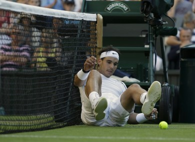 Rafa Nadal takes a spill in his last competitive match, on 28 June.