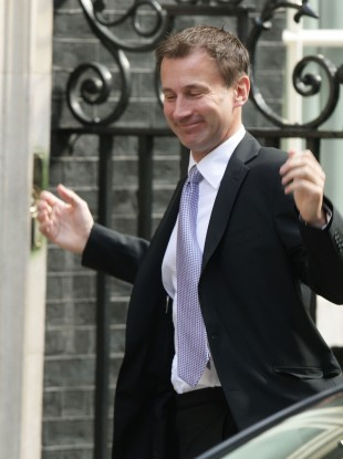 Jeremy Hunt arriving at No 10 Downing Street in central London today