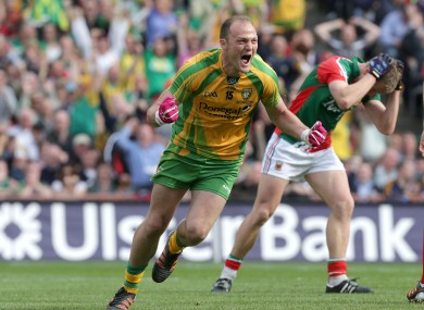 Colm McFadden celebrates Donegal's second goal.