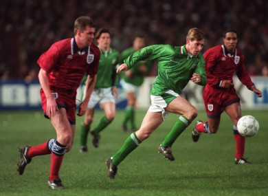 Goalscorer David Kelly and England's Gary Pallister the last time the teams played in 1995.