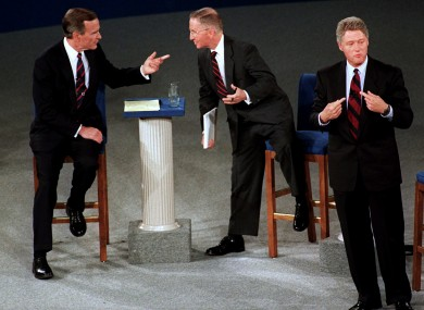 File photo of President Bush, candidate Ross Perot and Bill Clinton at 1992 debate
