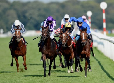 Mickael Barzalona and Encke beat hot favourite Camelot and Joseph O Brien to win the Ladbrokes St Leger Stakes during the Ladbrokes St Leger Festival.