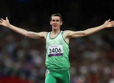 Ireland's Michael McKillop celebrates winning Gold in the Mens 1500m - T37 at the Olympic Stadium.