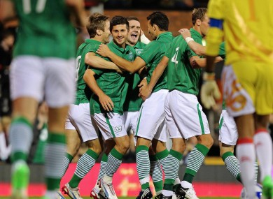 Shane Long is congratulated by his team-mates.