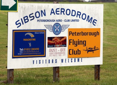 General view of the entrance to Sibson Aerodrome, near Peterborough, Cambridgeshire.