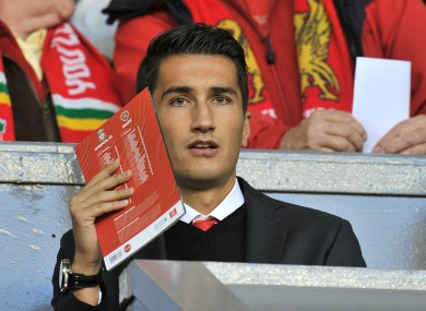 New Liverpool loan signing Nuri Sahin in the stands to watch the midweek meeting with Hearts.