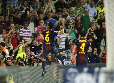 FC Barcelona's Xavi Hernandez reacts after scoring against against Granada at the weekend.