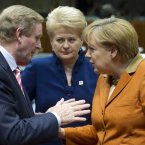 """""""Eh, Angela, remember about four months ago ye said ye would allow the ESM to recapitalise banks directly? Can we get the ball rolling on that?""""  Taoiseach Enda Kenny has a word with German Chancellor Angela Merkel, while Lithuanian President Dalia Grybauskaite looks on. (AP Photo/Geert Vanden Wijngaert)"""