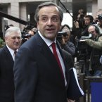 Another one who be getting any küssen's - Greek Prime Minister Antonis Samaras. (AP Photo/Yves Logghe)