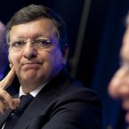 European Commission President Jose Manuel Barroso staring at Philippe de Buck. (AP Photo/Virginia Mayo)