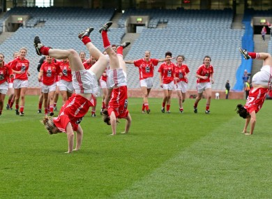 Cork's Breige Corkery, Roisin O'Sullivan and Grace Kearney celebrate with acrobatics after beating Kerry.
