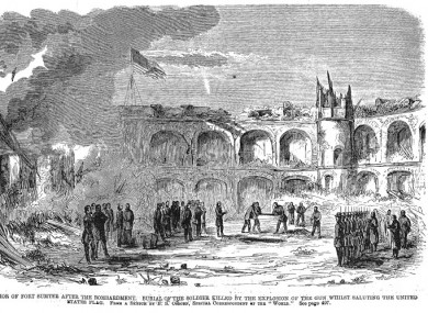 An illustration of Private Daniel Hough's funeral after the bombardment of Fort Sumter.