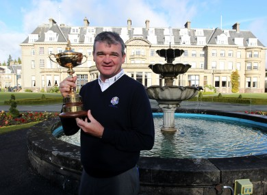 Paul Lawrie poses with the Ryder Cup at Gleneagles.
