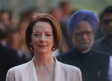 Australian Prime Minister Julia Gillard Arrives With Her Indian Counterpart Manmohan Singh At The