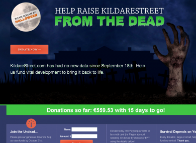KildareStreet.com's fundraiser asks users to help bring the site 'back from the dead' before Halloween.