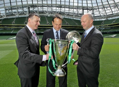 Leo Varadkar (centre), with the IRFU's Philip Browne and the ERC's Derek McGrath and the Heineken Cup - an example of alcohol sponsorship in sport.