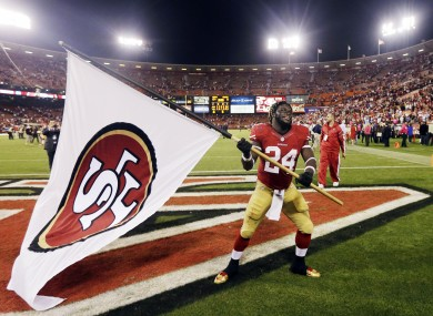 San Francisco 49ers running back Anthony Dixon celebrates after their 13-6 win over the Seattle Seahawks.