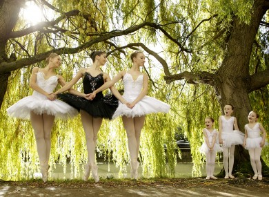 Dancers from the Moscow Ballet on the banks of the Grand Canal in Dublin on Thursday